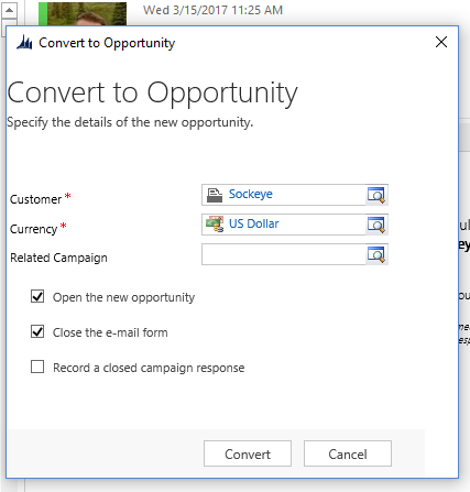 Microsoft Outlook Convert to Opportunity