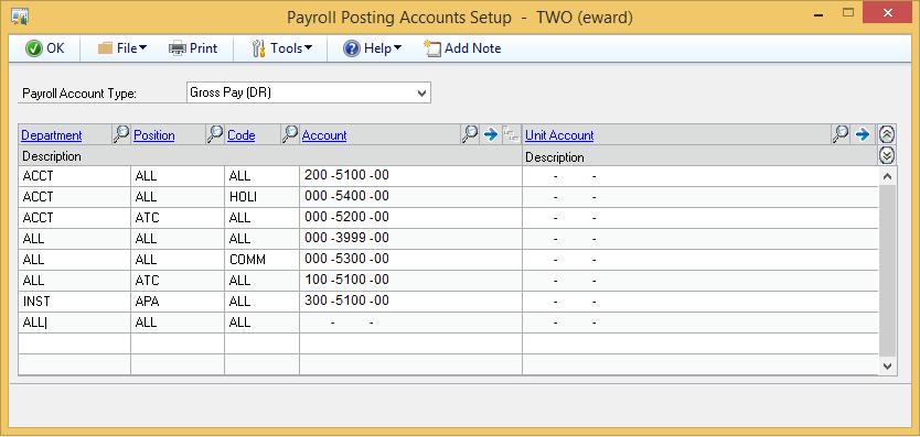 Microsoft GP Payroll Posting Accounts Set Up