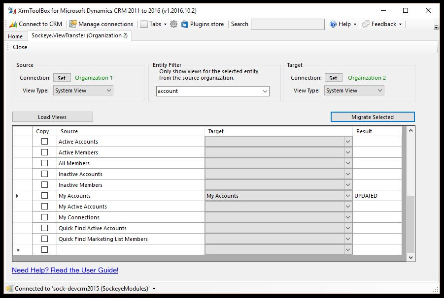 Account Migrated Transfer View
