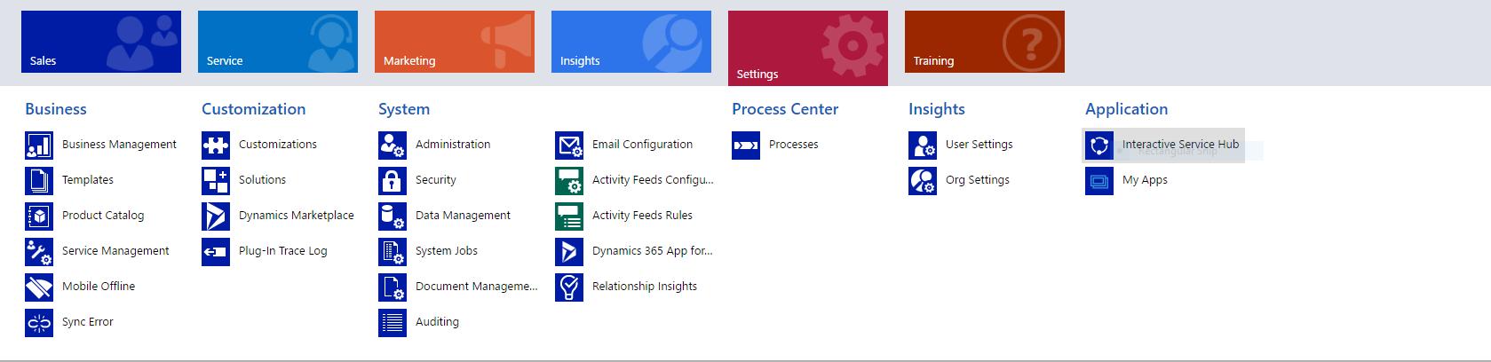 Microsoft Dynamics CRM Ribbon Interactive Service Hub