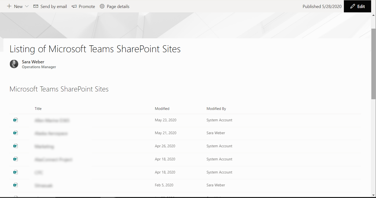 Microsoft Teams/Office 365 Groups SharePoint Sites listing